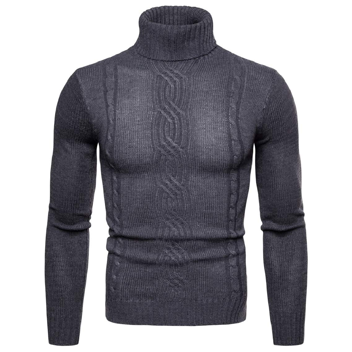 Highisa Mens Long-Sleeve Knitted Mock Neck Pullover Slim Solid Sweater Top