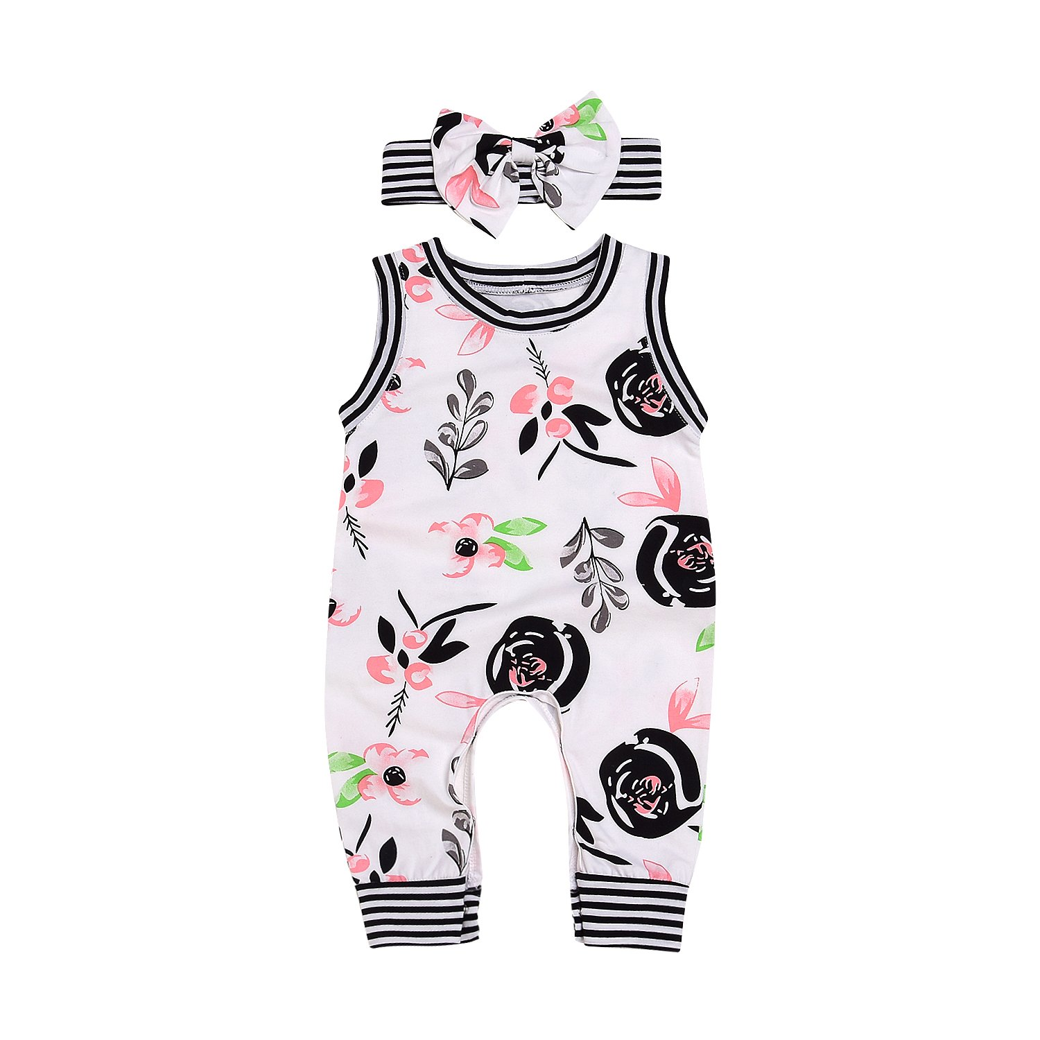 Infant Baby Girl Summer Rainbow Stripe One Piece Romper Bodysuit Clothes Set