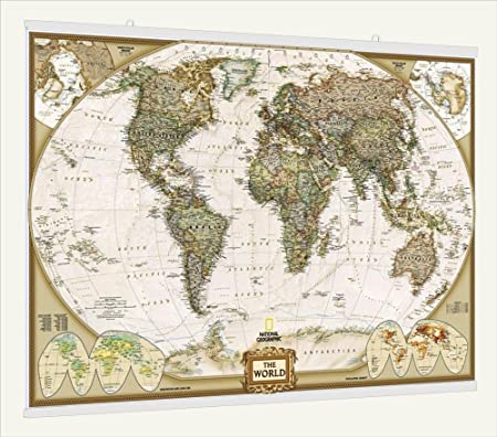 National geographic antique laminated world wall map with fitted national geographic antique laminated world wall map with fitted poster hangers 46quot gumiabroncs Images