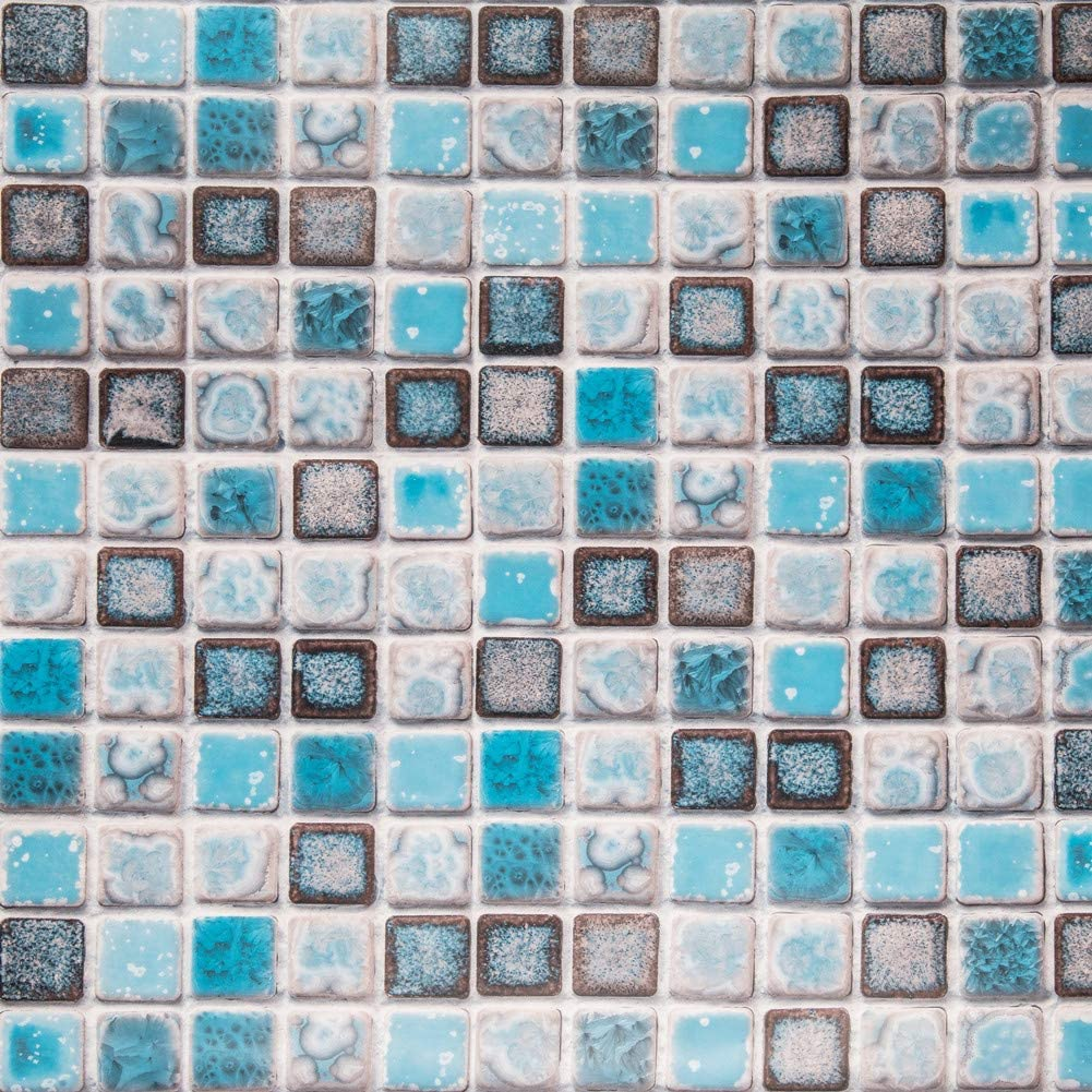 Hode Mosaico Adhesivo de Azulejo para Cocina Baño Pegatinas de Baldosas Stickers Azulejos Azul 40X200cm