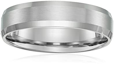 Bon 10k White Gold 6mm Comfort Fit Wedding Band With Satin Center And  High Polish