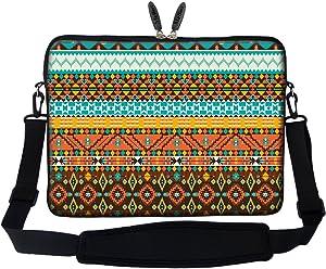 Meffort Inc 15 15.6 inch Neoprene Laptop Sleeve Bag Carrying Case with Hidden Handle and Adjustable Shoulder Strap - Colorful Pattern A