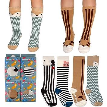 ecdbf36c5e Amazon.com   FlyingP 4 Pairs Animal Cartoon Knee High Socks Assorted Toddler  Stockings Non Skid Socks Tube Long Socks for 1-4 Years Baby Girls Boys    Baby