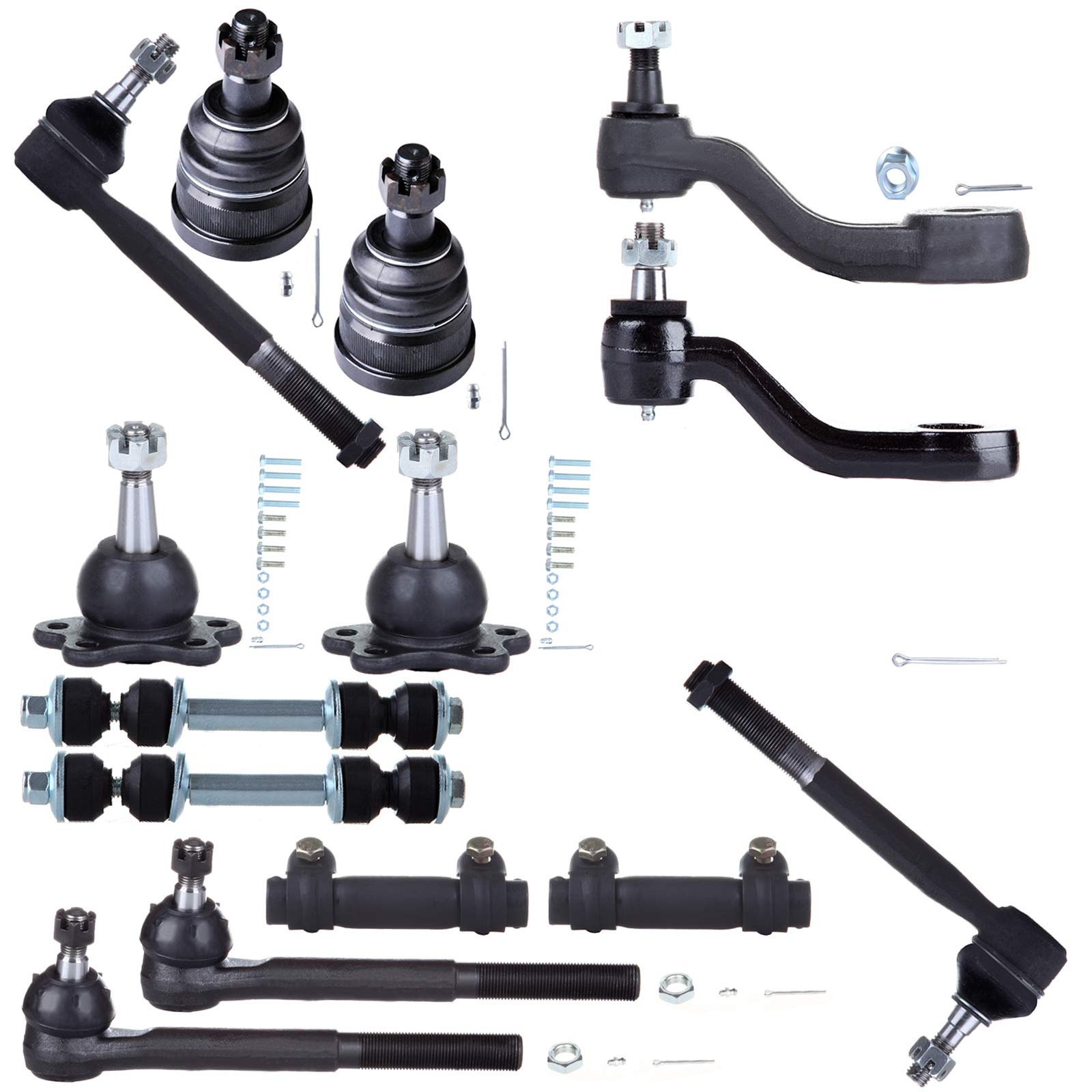 SCITOO 14pcs Suspension Kit 2 Front Upper 2 Lower Ball Joint 2 Rear Front Sway Bar 1 Pitman Arm 1 Idler Arm 2 Outer 2 Inner Tie Rod End 2 Tie Rod Adjusting Sleeve fit for Chevrolet GMC K6292