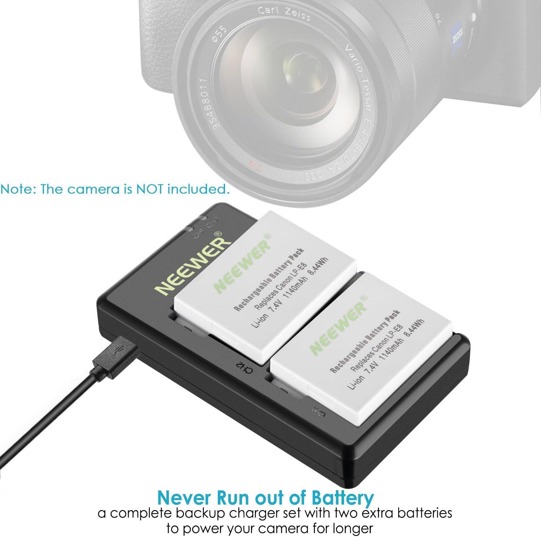 700D 650D Kiss X4 T3i T4i Compatible with Canon EOS Rebel T2i X5 X6i 600D Not for T2 T3 T4 T5 Neewer LP-E8 Dual Slot Battery Charger Set 1140mAh X7i Cameras /&More 550D T5i