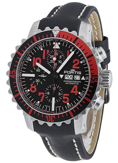 Fortis Hombre Reloj de pulsera aquatis Marino Master Rojo Cronógrafo Fecha Día de la semana analógico