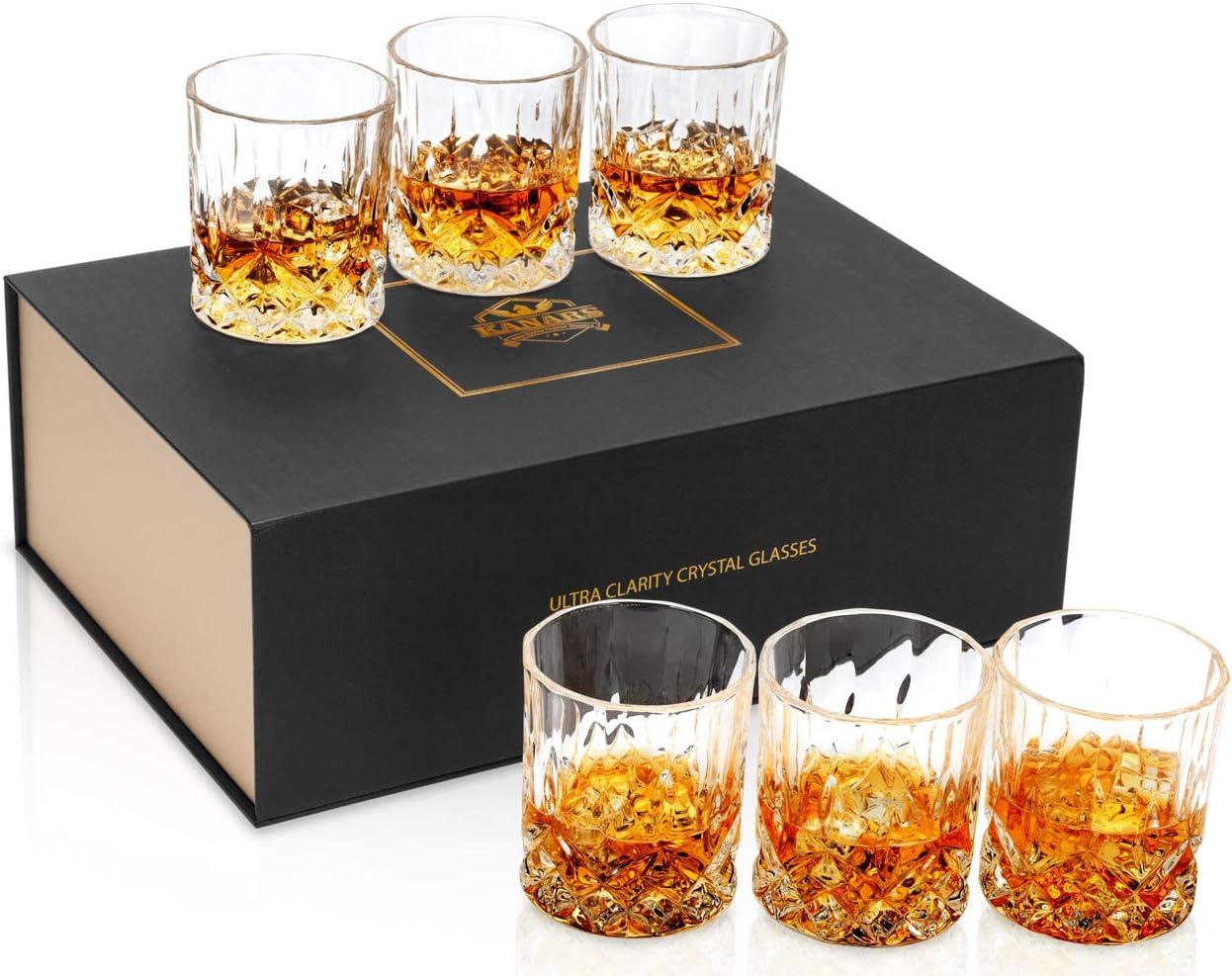 KANARS Whiskey Glasses Set of 6 with Elegant Gift Box,10 Oz Premium Old Fashioned Crystal Glass Tumbler for Liquor, Scotch, Cocktail or Bourbon Drinking Tasting