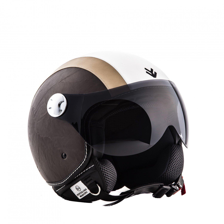 "yellow Armor /· AV-84 /""Vintage Deluxe Creme/"" 53-54cm /· Casco moto Demi Jet /· Helmet Scooter motocicleta Urban Urbano Retro /· ECE certificado /· Visor /· Click-n-Secure/™ Clip /· XS"