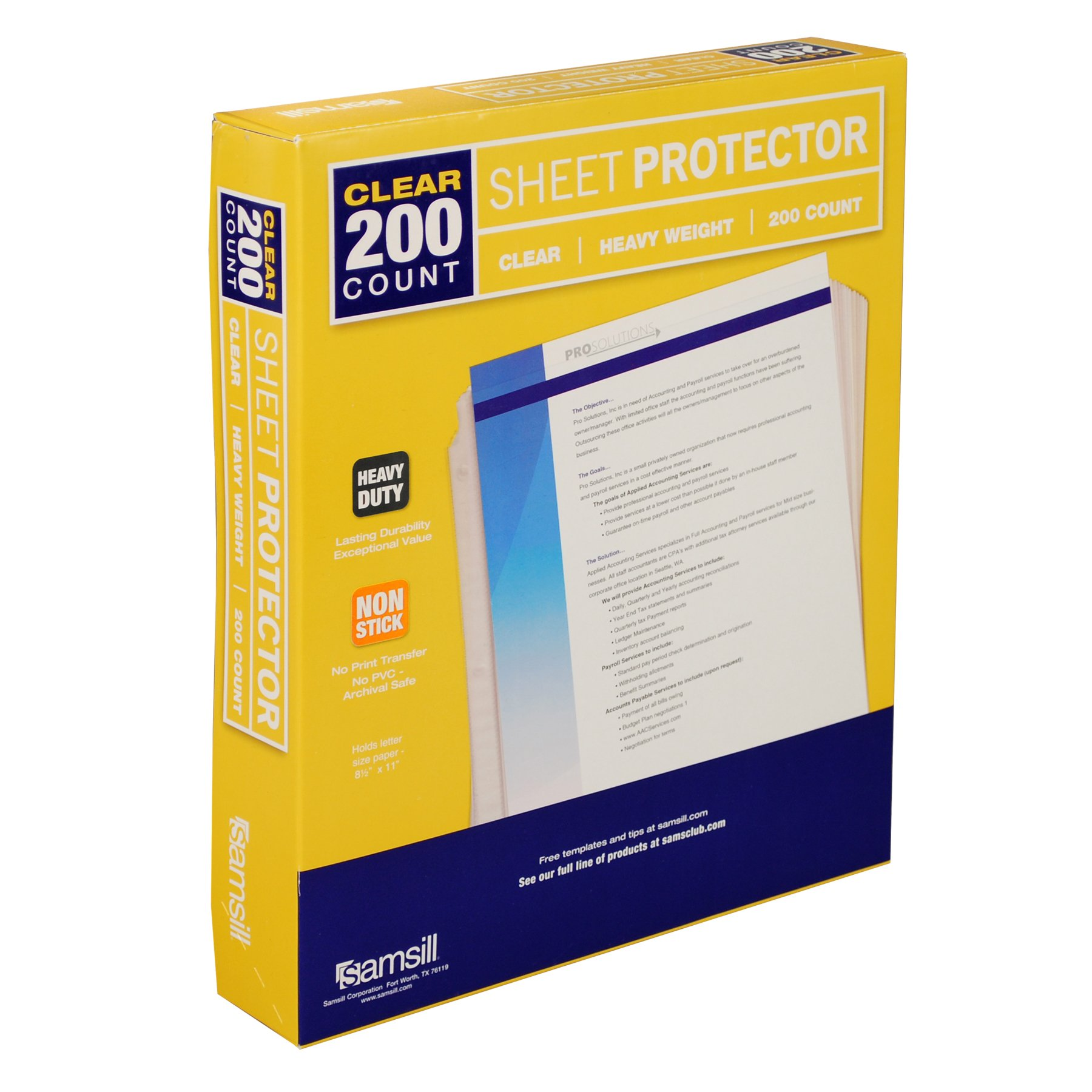 Samsill 200 Clear Heavyweight Sheet Protectors, Reinforced 3 Hole Design Plastic Page Protectors, Archival Safe, Top Load for 8.5 x 11 Inch Sheets, Box of 200 by Samsill