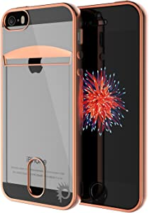 iPhone SE / 5S / 5 Case, PUNKcase [Lucid Series] Slim Fit Protective Armor Cover w/Scratch Resistant PUNKSHIELD Screen Protector-Card Slot Design for Apple iPhone SE/iPhone 5s & iPhone 5 [Rose Gold]