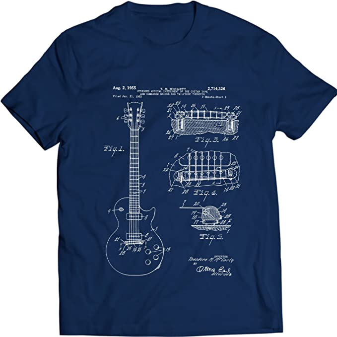 Gibson Les Paul Guitarra Camiseta Música tee Patentarar: Amazon.es: Ropa y accesorios