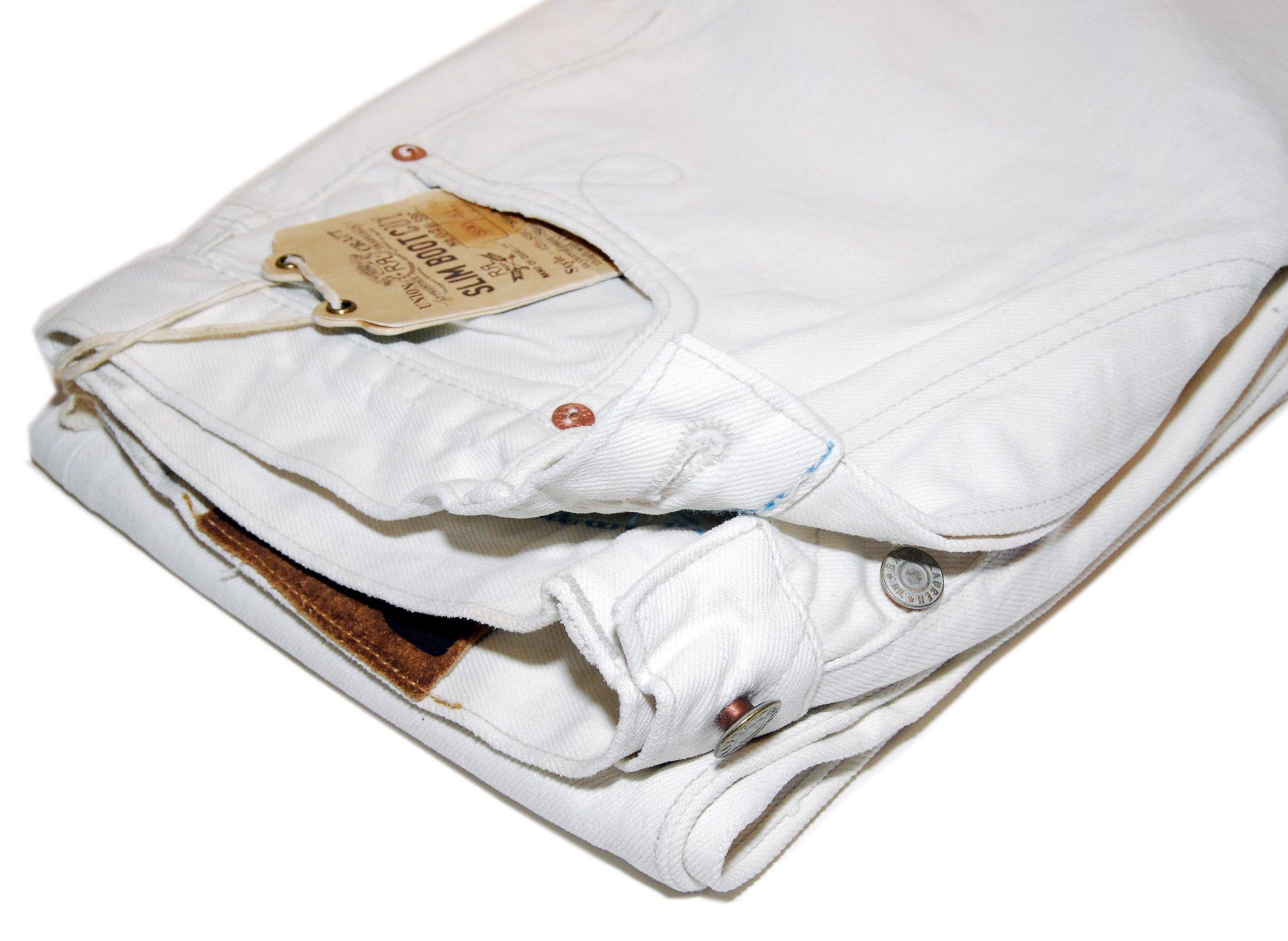 Ralph Lauren RRL Mens Slim Bootcut Ivory Denim Selvedge Jeans Pants USA 36/34