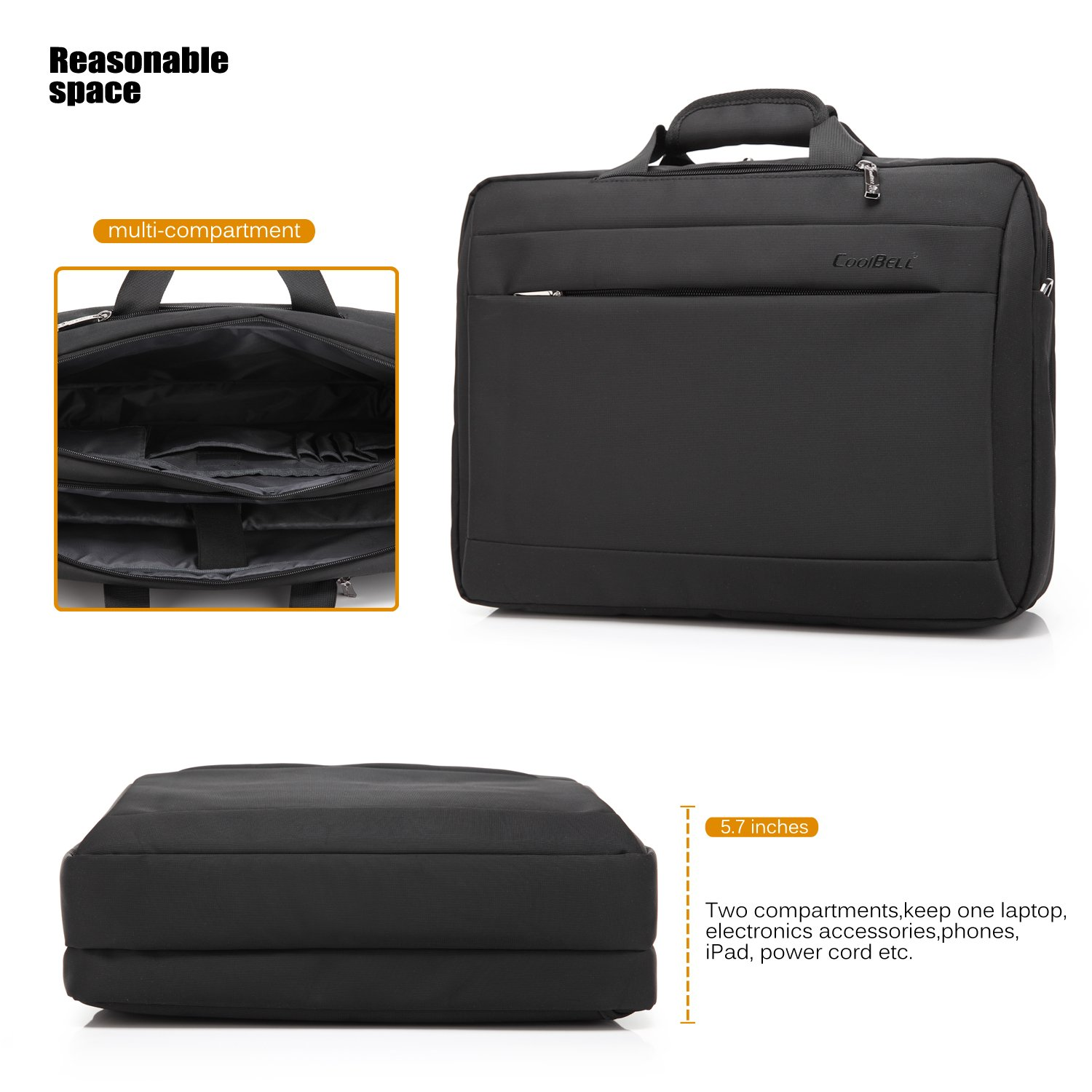ff325bf5c5 CoolBELL 15.6 inch Multi-function Convertible Laptop Messenger Computer Bag  Single-shoulder Backpack Briefcase Oxford Cloth Waterproof Multi-Compartment  For ...
