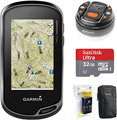 Garmin Oregon 750t Handheld GPS w Built-in Wi-Fi, Camera Bluetooth 010-01672-30 32GB Memory Card LED Brite-Nite Dome Lantern Flashlight Carrying Case 4X AA Batteries w Charger