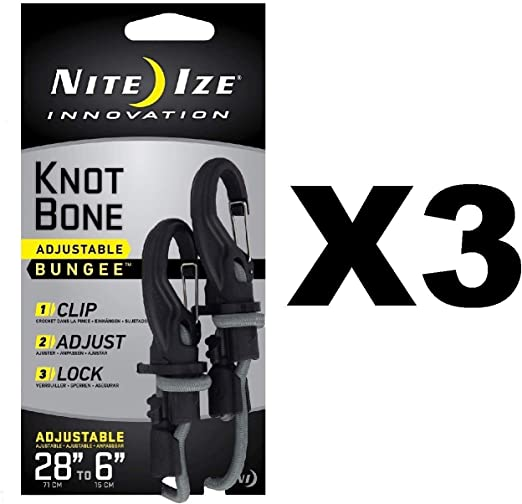 Nite Ize KnotBone Adjustable Bungee Small 5mm 6-28 w// Carabiner Clip 3-Pack