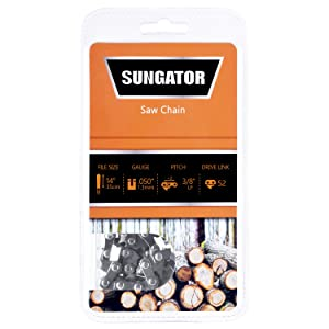 """SUNGATOR Chainsaw Chain SG-S52, 14-Inch - .050"""" Gauge - 3/8"""" LP Pitch - 52 Drive Links, Semi-Chisel Saw Chain Fits Specific Models of Craftsman, Echo, Homelite, Poulan"""
