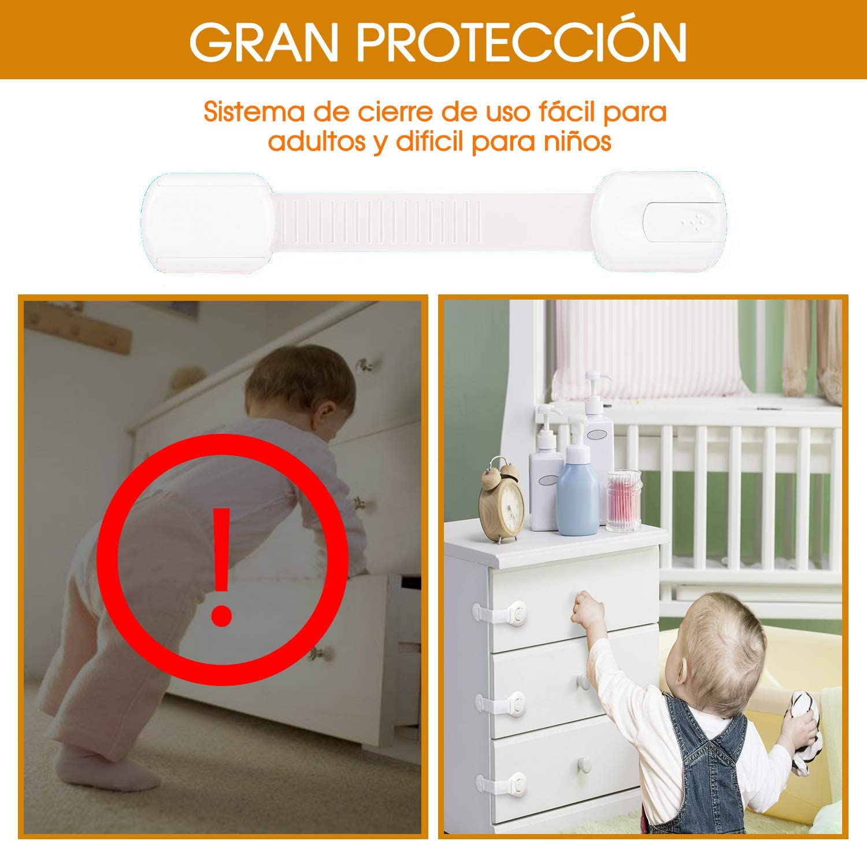 6 Pack iPobie Cerraduras de Seguridad para Ni/ños Cierre Seguridad Cajones Bebe Bloqueo de Seguridad para Armarios Cajones Puertas Electrodom/ésticos Adhesivo 3M