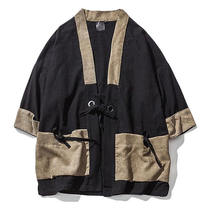 Amazon.com: Sonjer Kimono - Camisa japonesa para hombre ...