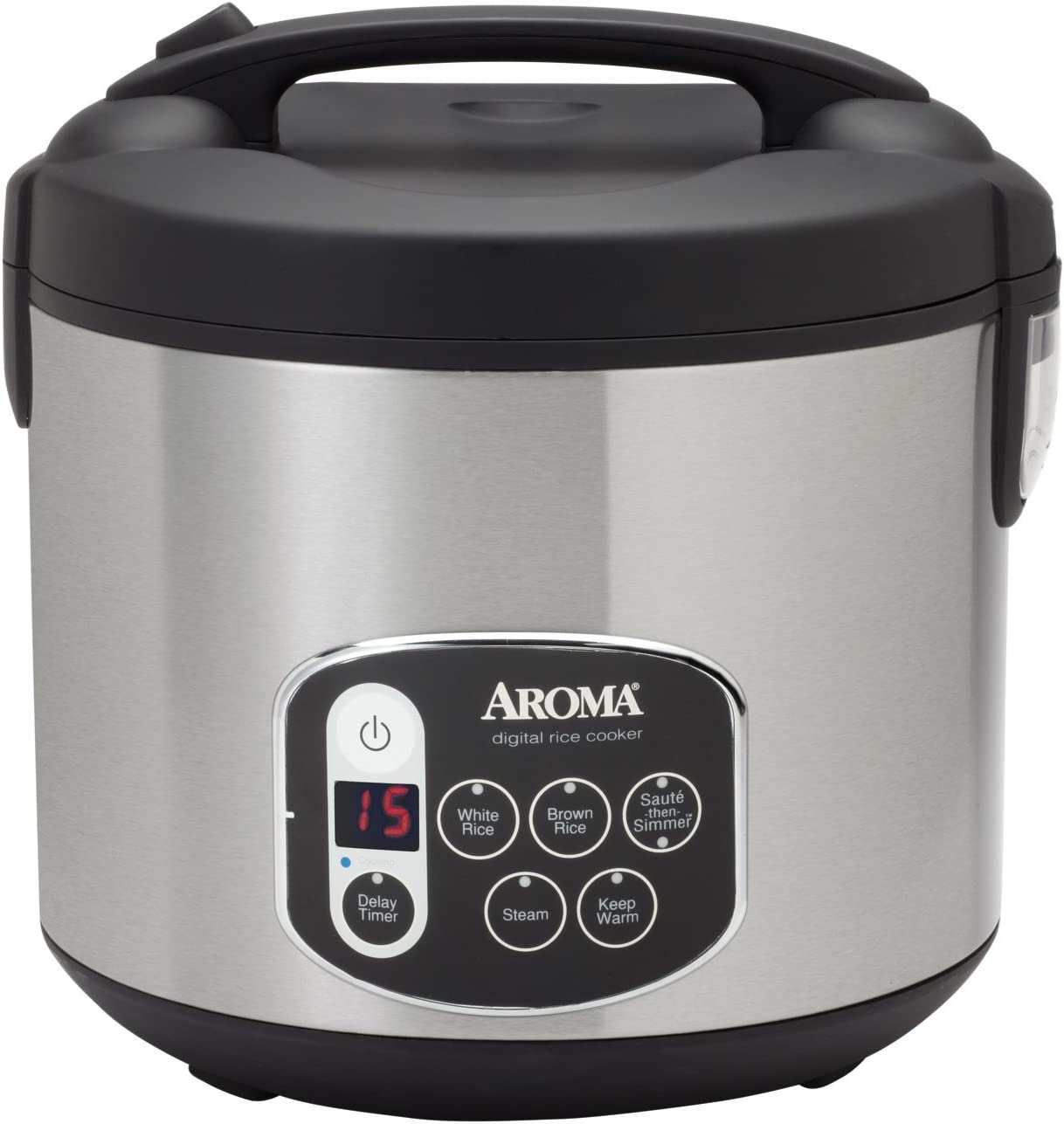 Aroma Housewares 20-Cup Cooked 10-Cup UNCOOKED Digital Rice Cooker Food Steamer, Stainless Steel Exterior ARC-1010SB
