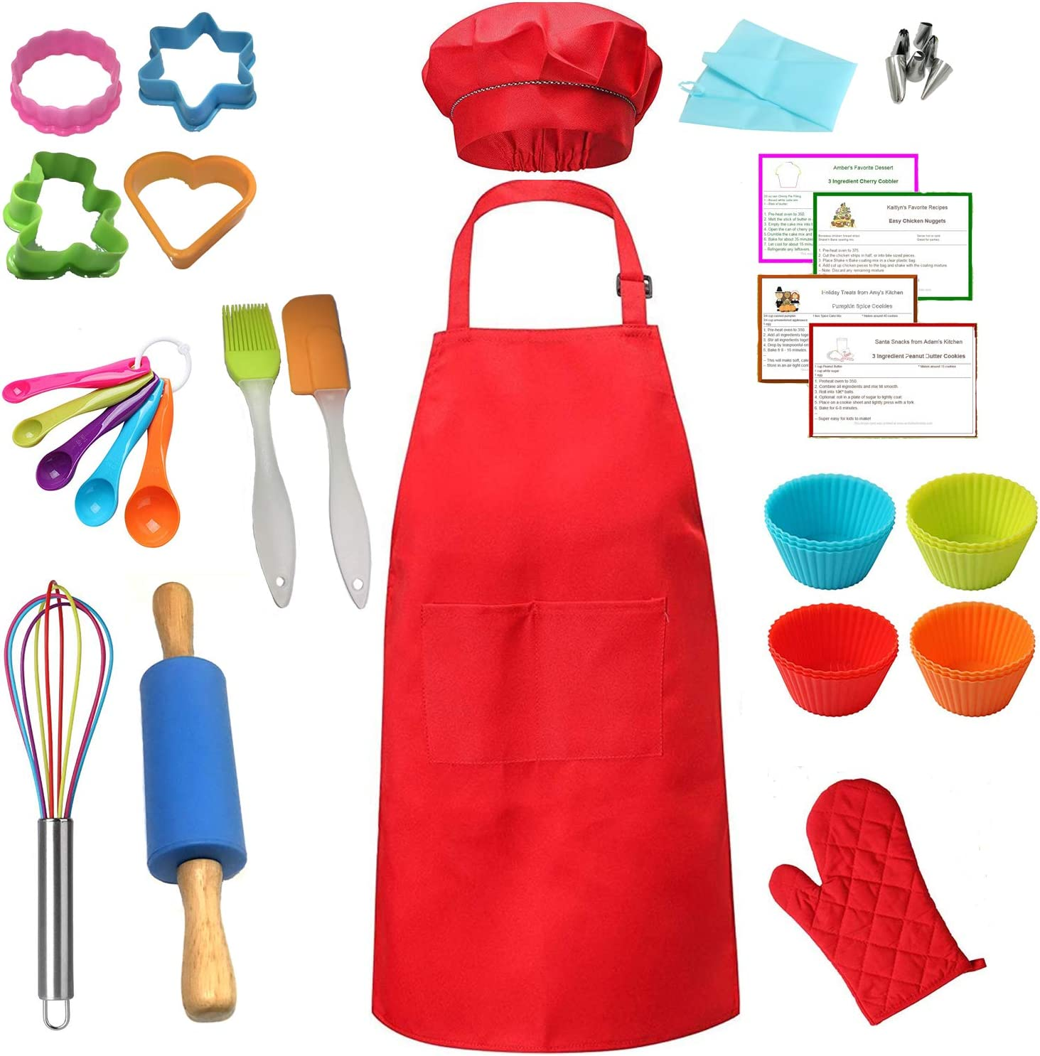 Kids Real Baking Set 42 Pieces include Apron, Chef Hat, Oven Mitt, Rolling Pin, Cookie Cutter and other Real Baking tools (42)