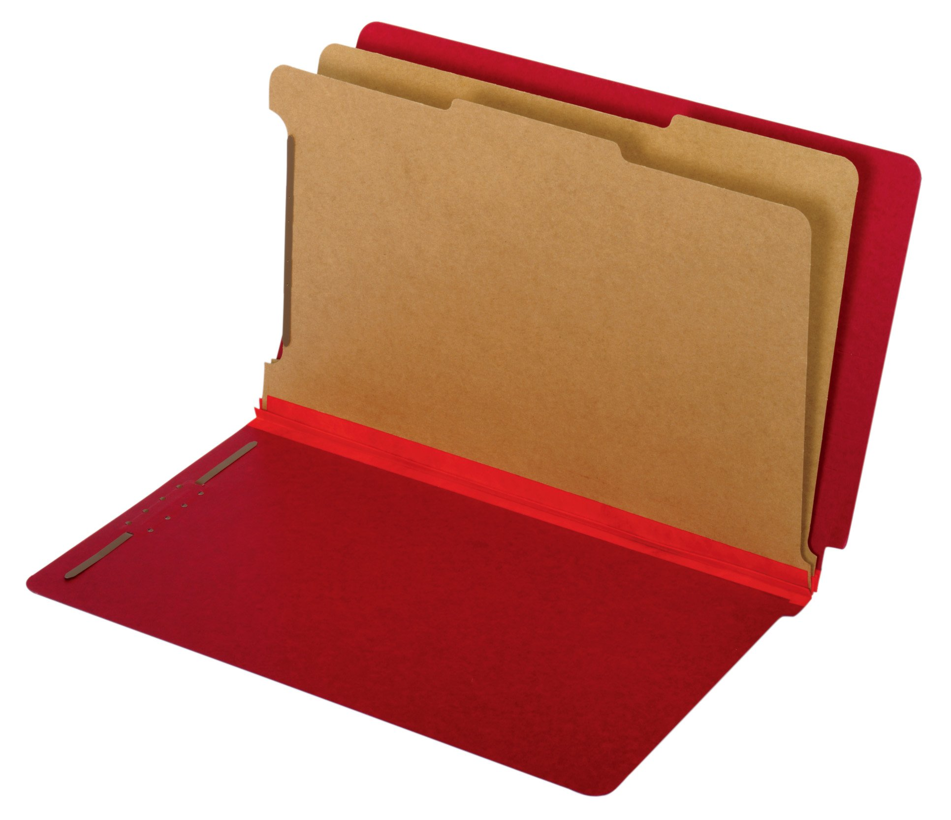 Globe-Weis/Pendaflex End Tab Classification Folders, 2 Dividers, 2-Inch Embedded Fasteners, Legal Size, Dark Red, 10 Folders Per Box (39783)