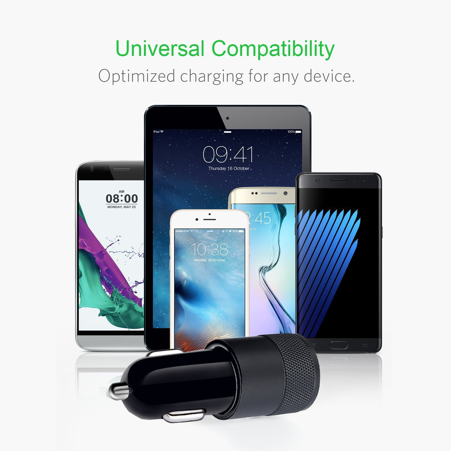 Quick Charge 3.0 Car Charger 40W Car Adapter with Dual QC USB Ports with 1-Pack 3.3ft Type C Cord for Samsung Galaxy Note 8 S9 S8 S8 Plus S7, iPhone X 8 8 Plus, iPad Pro 2017, Google Pixel and More by CovertSafe (Image #6)