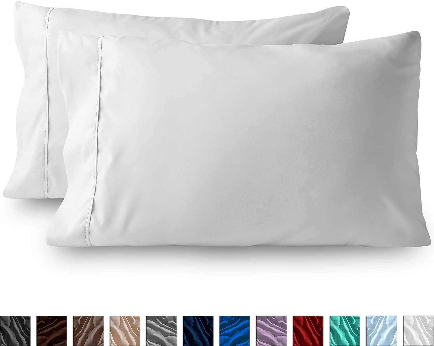 Bare Home Premium 1800 Ultra-Soft Microfiber Pillowcase Set - Double Brushed - Hypoallergenic - Wrinkle Resistant (King Pillowcase Set of 2, White)