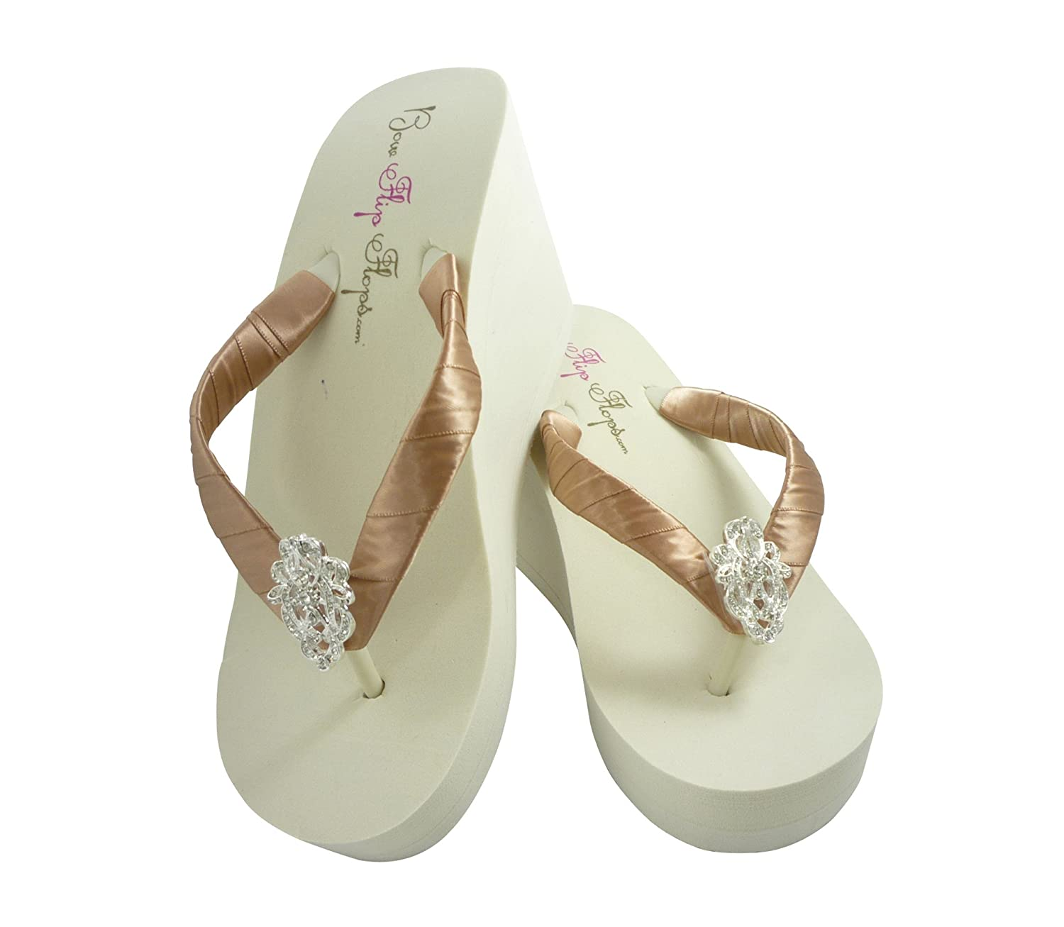 d5d6c4ab8 Amazon.com  Pecan Rose Gold High Ivory Flip Flops with 3.5 inch heel   Handmade