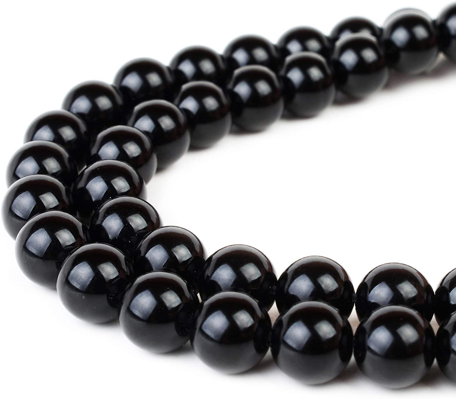 12 mm Genuine Natural Black Agate Onyx Gemstone Round Beads Stretch Bracelets