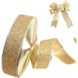 Leisial™ Weihnachtsdekoration Ribbon Golden Weihnachtsbänder Glitter Dekoband Geschenkband Schleifenband Weihnachten 200*5CM