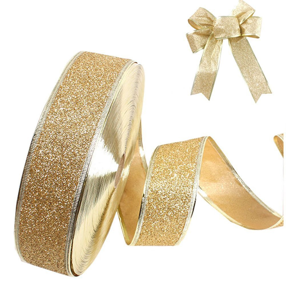 Da.Wa Wired Glitter Ribbon for Bows/Gift Wrapping/Christmas,2''x78''Blue/Red/Gold/Purple