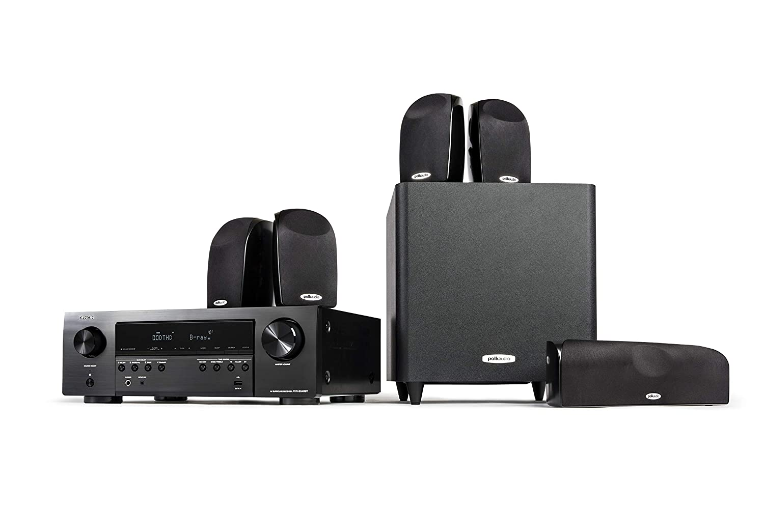 """Polk Audio Blackstone TL1600 5.1 Channel Compact Home Theater System with Denon AVR-S540BT Receiver 