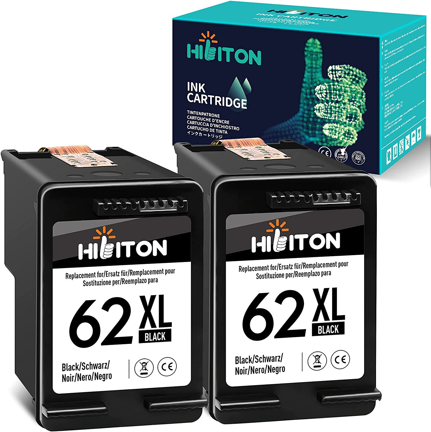 HibiTon Remanufactured Ink Cartridge Replacement for HP 62XL 62 XL Work with Envy 7640 5660 5540 5661 5642 5640 5640 5663 5544 5542 5549 OfficeJet 5740 250 5745 5746 200 Printer (Black) 2 Pack