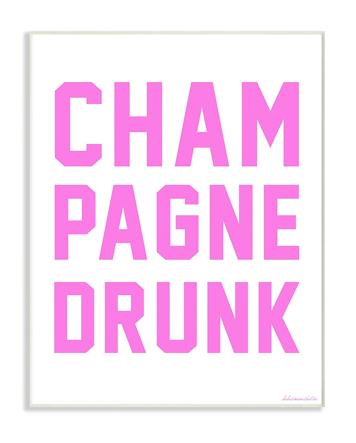 11 x 1.5 x 14 Proudly Made in USA Stupell Home D/écor lulusimonSTUDIO Champagne Drunk Varsity Lettering Framed Giclee Texturized Art