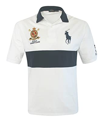 Ralph Lauren Men\u0027s Big and Tall CLASSIC FIT BIG PONY POLO SHIRT WHITE/NAVY