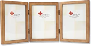 Lawrence Frames 766057T Nutmeg Wood Hinged Triple Picture Frame, 5 by 7-Inch