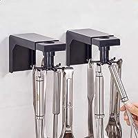 Arespark Keukengereihouder, 2 stuks zonder boren, keukenhouder met 6 haken, zelfklevende multifunctionele wandhaken voor…