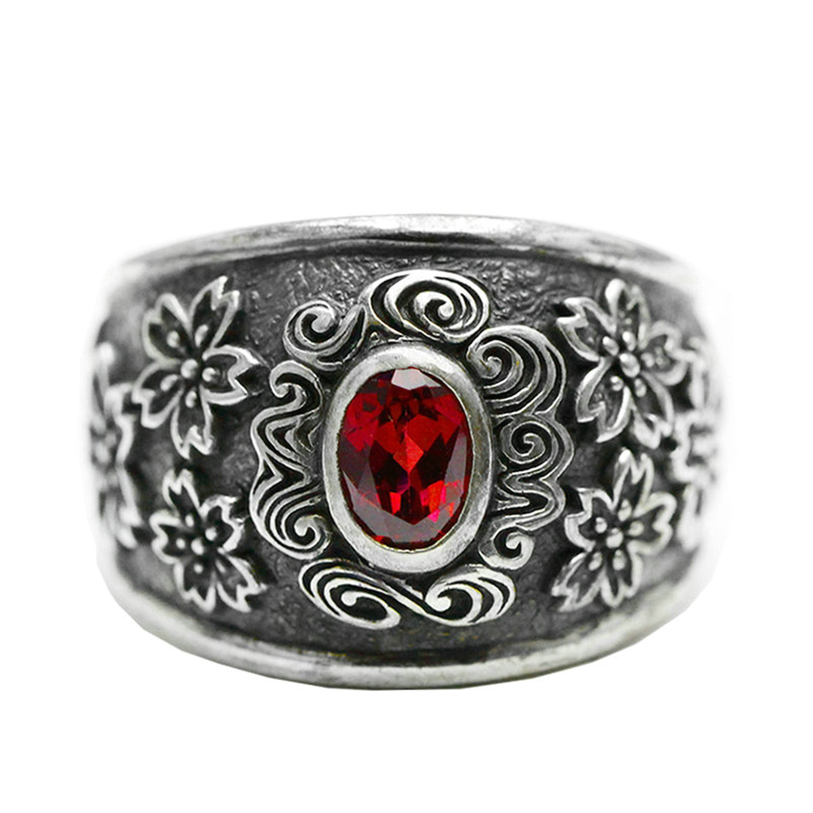 Anazoz S925 Sterling Silver Retro Style Punk Flower Red Cubic Zirconia Rings Unisex Size 9.5 by AnaZoz