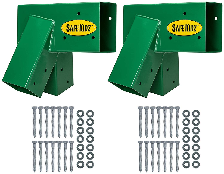 Safe-Kidz™ Wooden Swing Set Brackets :: Set of 2 Steel Swing Braces & Hardware & Instructions, Green