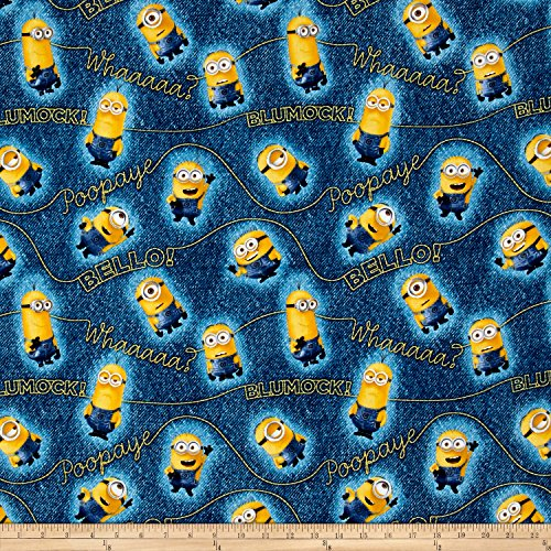 Millions Of Minions Minion & Words Toss Denim Fabric By The (Minions Phrases)