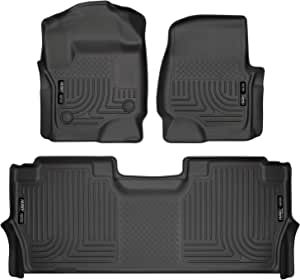 Husky Liners - 94061 Fits 2017-20 Ford F-250/F-350 Crew Cab - with factory storage box Weatherbeater Front & 2nd Seat Floor Mats Black