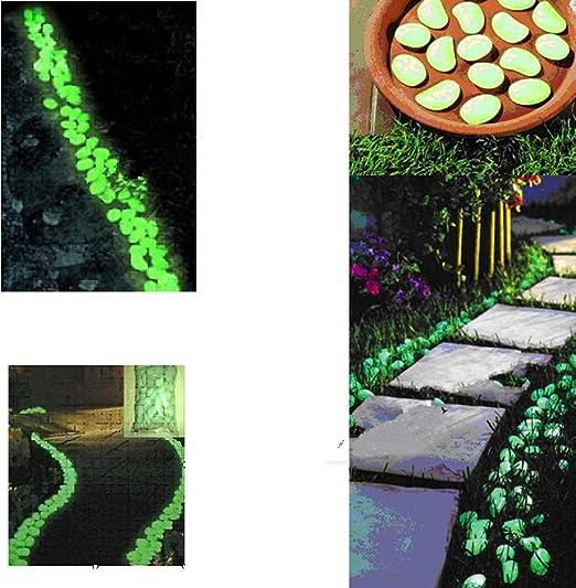 100 piezas calientes varicela brillo en la oscuridad guijarros piedras para jardín portazgo azul cielo: Amazon.es: Jardín