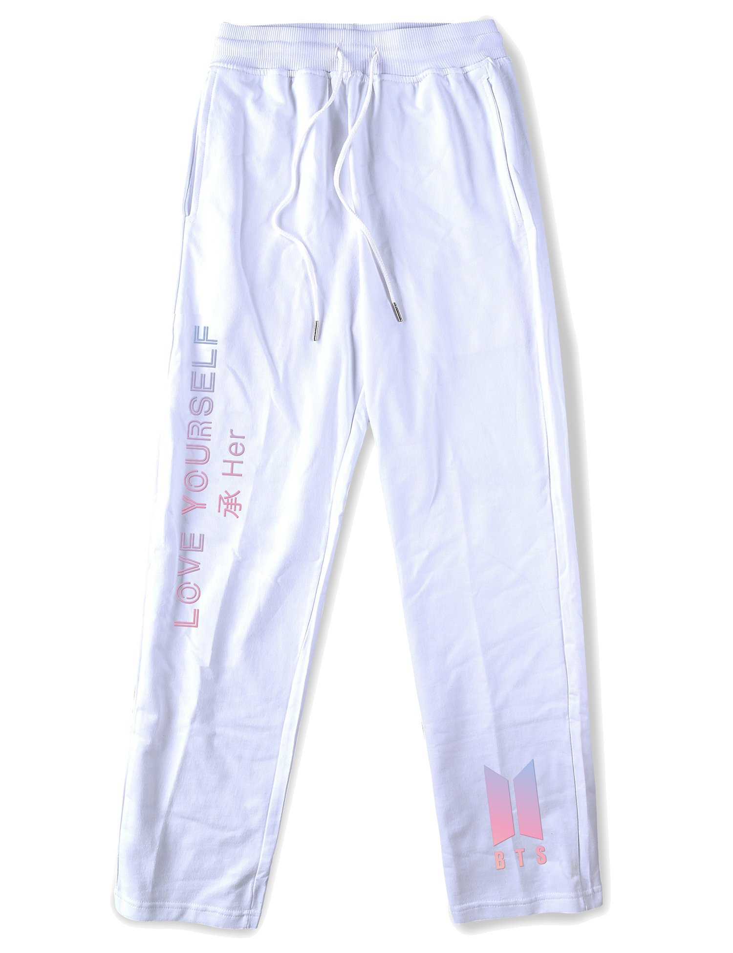 BTS Sweatpants Bangtan Boys Love Yourself Same Pants Jung Kook Suga White L