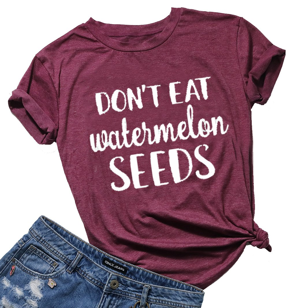 Don't Eat Watermelon Seeds T-Shirt Women Letter Print Short Sleeve Funny Top Blouse Size XL (Red) by DUTUT