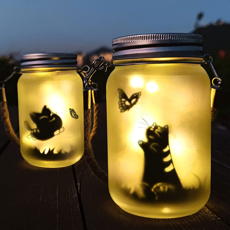 Alritz Cute Cat Fairy Solar Mason Jar Lights, 2 Pack Outdoor Hanging Garden Lantern for Table Patio Pathway Decoration
