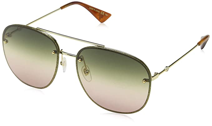 edcaf12e6b Gucci GG0227S 004 Gold GG0227S Square Pilot Sunglasses Lens Category 1 Size  62m