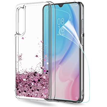LeYi Funda Xiaomi Mi A3 / CC9e Silicona Purpurina Carcasa con HD Protectores de Pantalla, Transparente Cristal Bumper Telefono Gel TPU Fundas Case ...