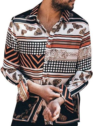 Camisa Estampada para Hombre Casual Moda Vintage Shirt Slim fit cómodo Camisas de Manga Larga con Estampado para Hombres Playa Fiesta Top: Amazon.es: Ropa y accesorios