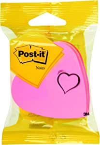 Post-It 76x76 mm Heart Shaped Cube Notes Pink