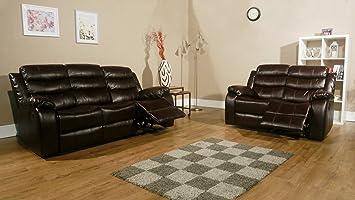 Rs Furniture Rs Möbel Vista 3 Sitz Zurücklehnen Sofa Leder Braun